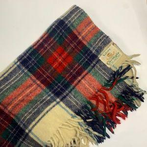 VALORA CARLDYKE Vintage 100% Wool Plaid Throw